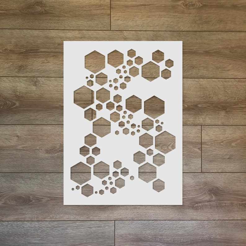 Super Hexagon Reusable Plastic Stencil image 0