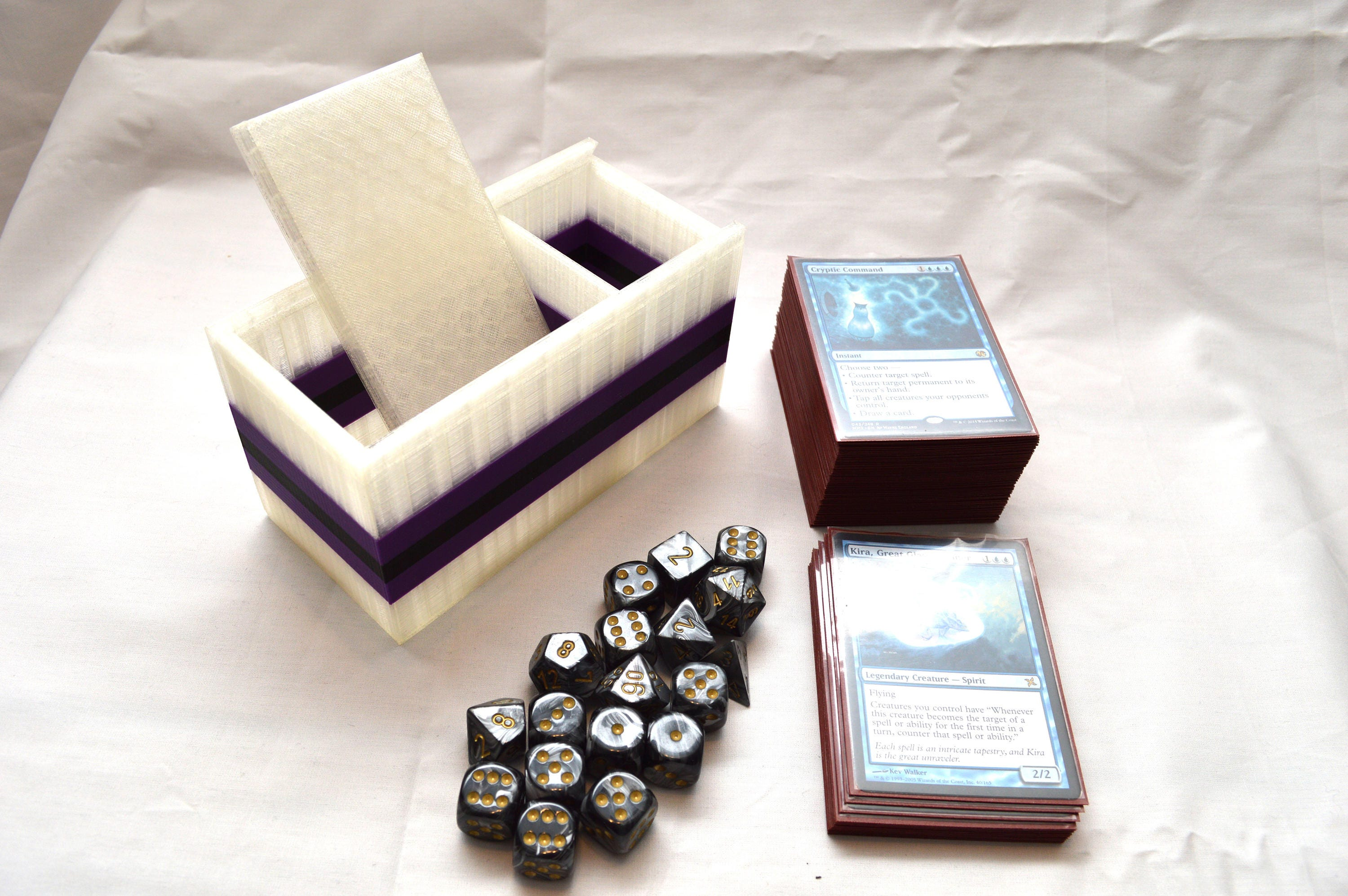 Translucent 3D Printed Deck Box with Purple and Black stripes