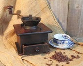 Antique Coffee Grinder - Early Large Hand Crank - Working - Beautiful Aged Patina