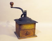 Colonial Coffee Grinder - Fancy Iron with Dovetailed Wooden Box - Late 1800 39 s to early 1900 39 s - Great Original Label