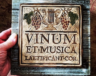Wine & Music Gladden the Heart (Vinum et Musica Laetificant Cor) - Ceramic Art Tile © 2005. All rights reserved.