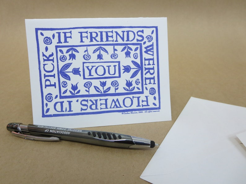 If Friends Were Flowers  Note Cards set of 6 blank inside image 0