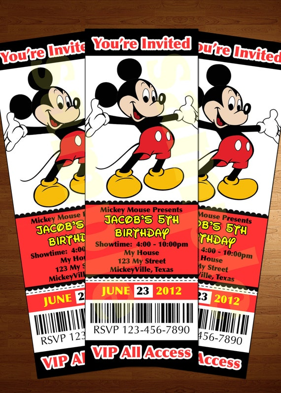 Mickey Mouse Ticket Invitation Printable Diy Invite RED