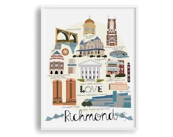 Richmond VA Print, Richmond Map, VCU, University of Richmond