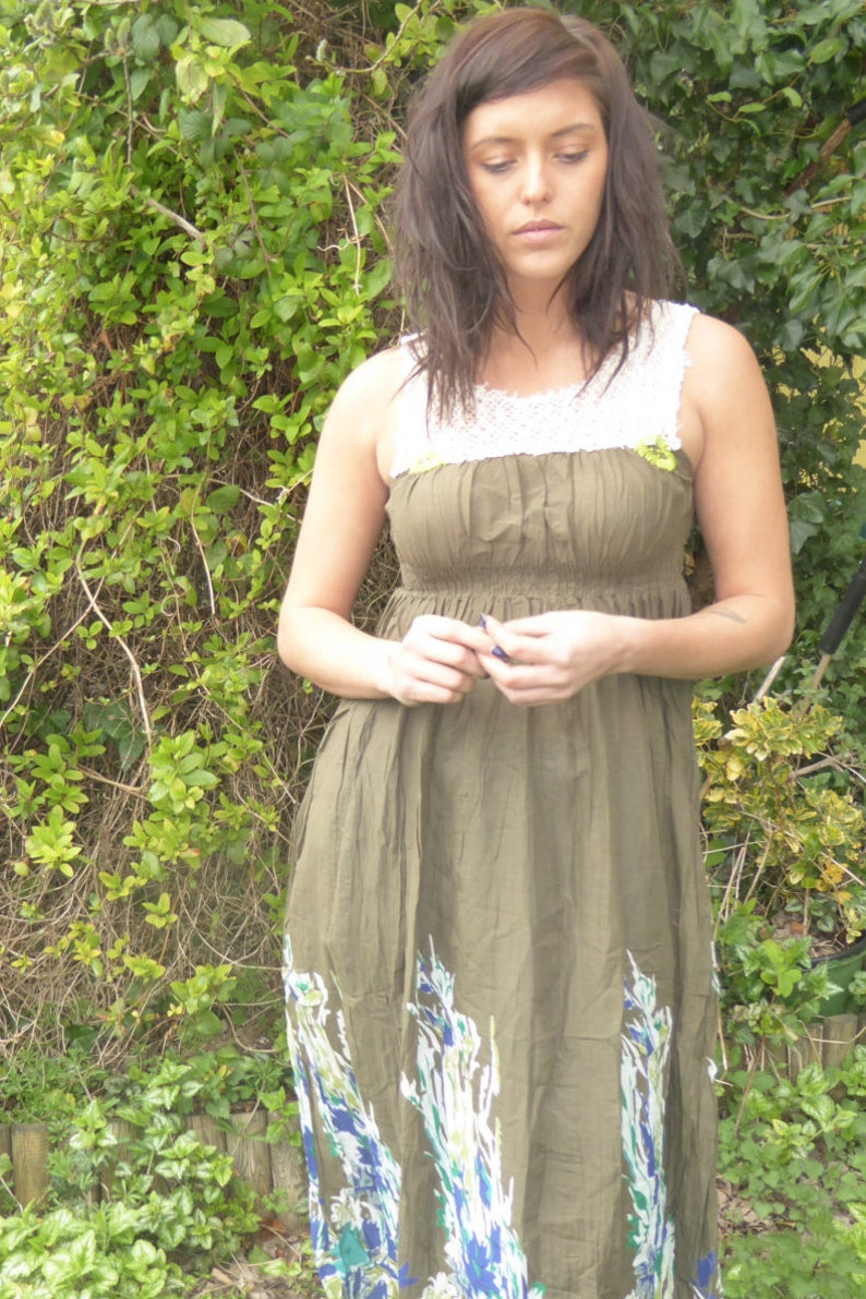Boho Dress in green Maxi Dress Summer Dress Fae Dress