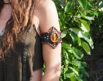 Leather Armcuff - Tigers eye armlet - LOTR - LARP kit - Boho armlet - Festival wear - Upper arm bracelet - Leather arm cuff - Elven armlet