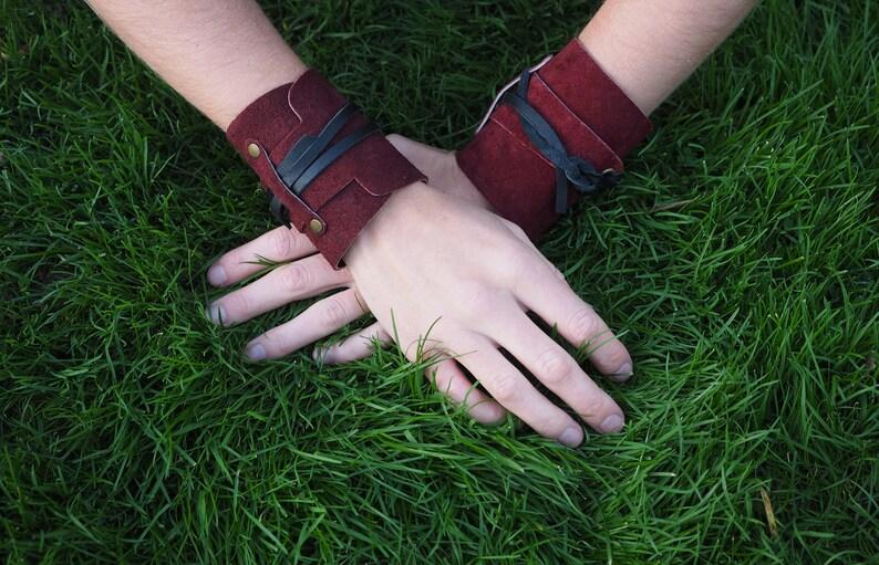 Maroon Leather Wristcuffs Leather cuffs  Wrist cuffs  Cuff bracelets  Wrap bracelet
