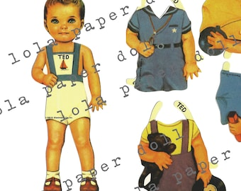 Boy Paper Doll - Ted
