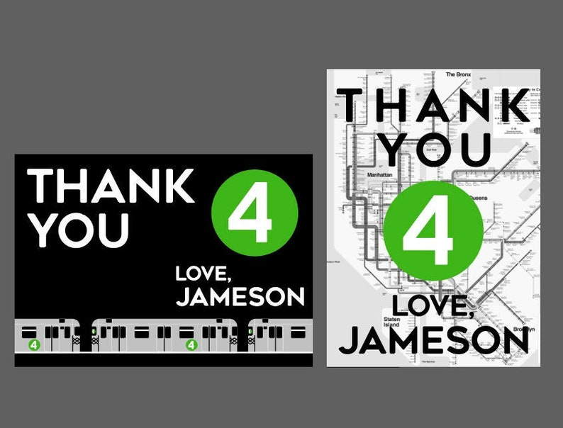 Cards With Subway Map.Subway Or Map Thank You Printable