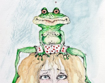 Princess and a frog, original pen and watercolor painting
