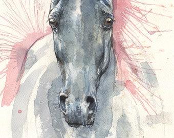 Horse portrait, equine art, equestrian, cheval, original watercolor painting