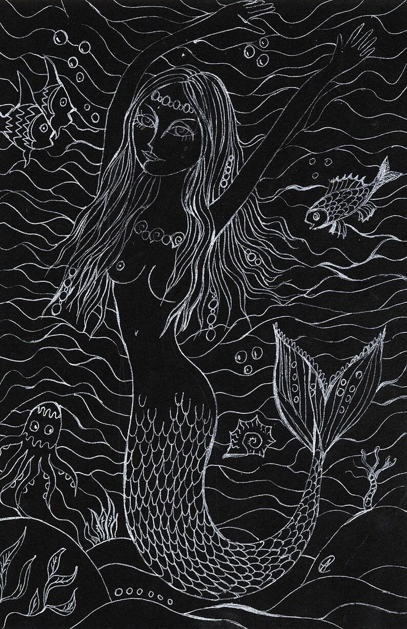 little mermaid fantasy art sea and fish  original white pen image 0