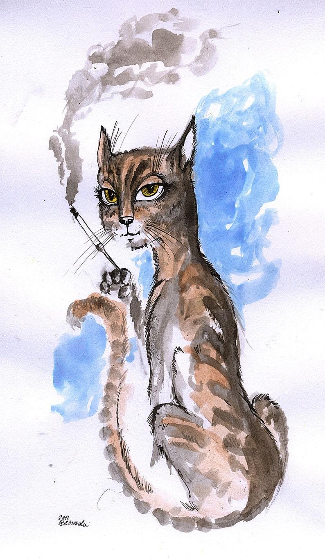 pussycat with a cigarette feline art cat illustration image 0