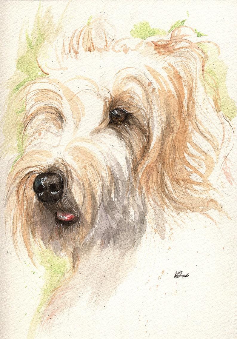 original watercolour painting portrait of a dog image 0