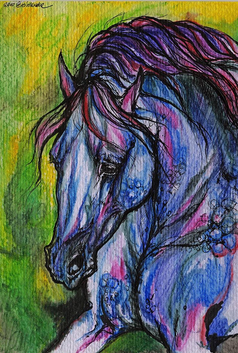 Arabian horse equine art equestrian portrait  original ink image 0
