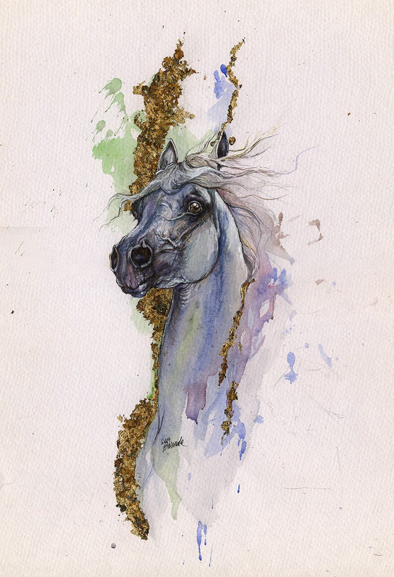 Grey arabian horse original gilded watercolour painting image 0