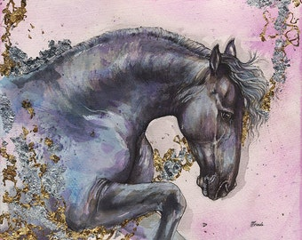 Original gilded pen and watercolour painting of friesian horse
