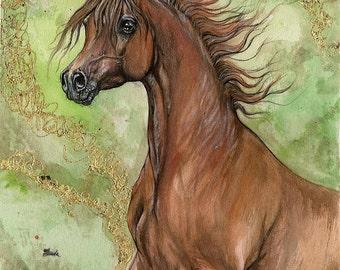 Chestnut arabian horse, equine art, equestrian portrait,  original gilded pen and watercolor painting