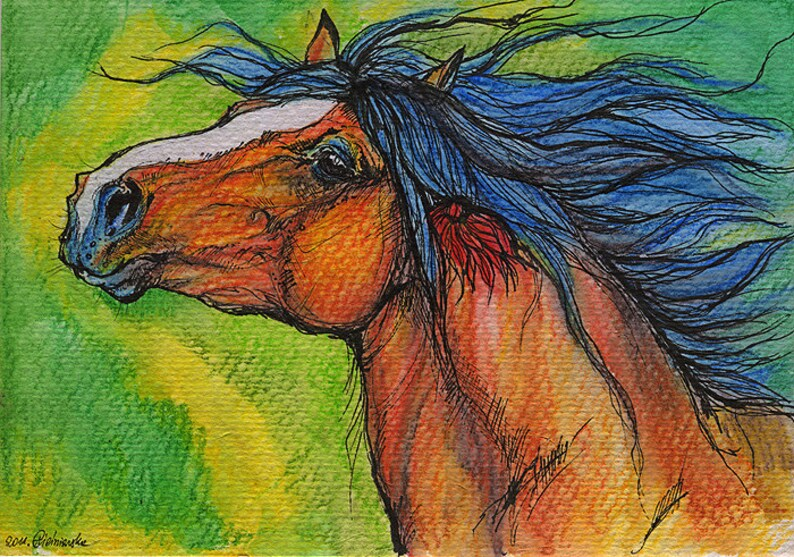 Bay heavy horse equine art equestrian  ink and watercolor image 0