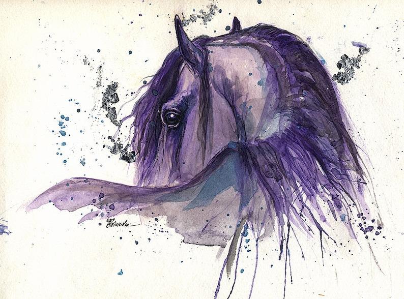 Portrait of a friesian horse original pen and watercolour image 0