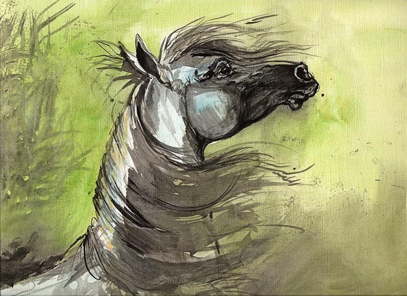 Arabian horse original acrylic painting on paper image 0