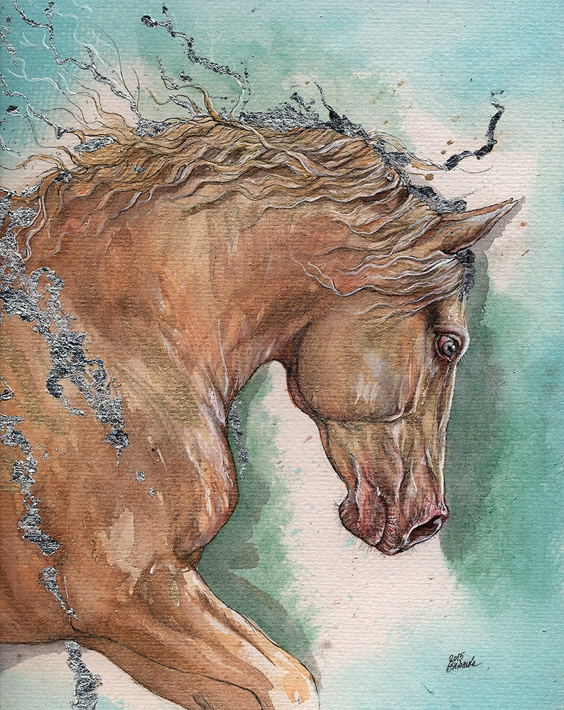 palomino horse original gilded pen and watercolours painting image 0