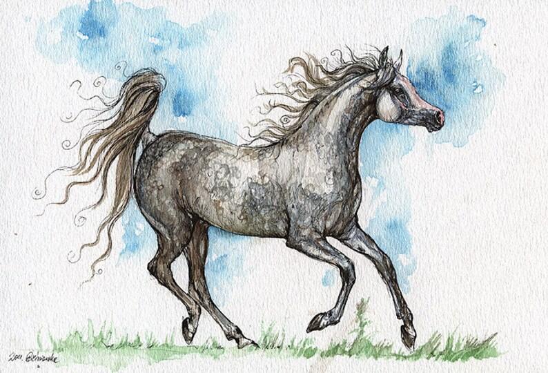 Running gray arabian mare equine art horse painting image 0