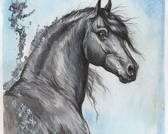 Original gilded pen and watercolour painting of a friesian horse