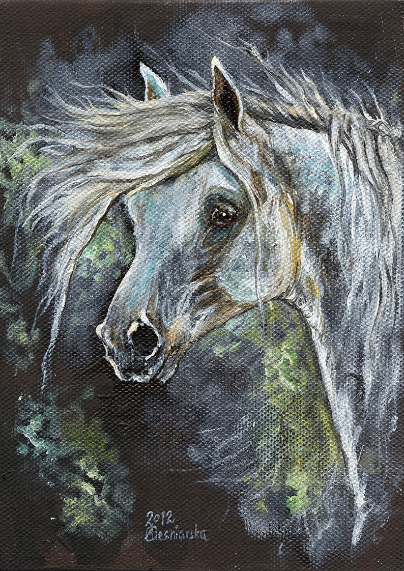 Grey horse equine art equestrian  original oil painting on image 0