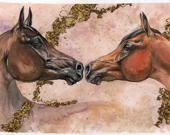 Couple of bay arabian horses original gilded pen and watercolor painting