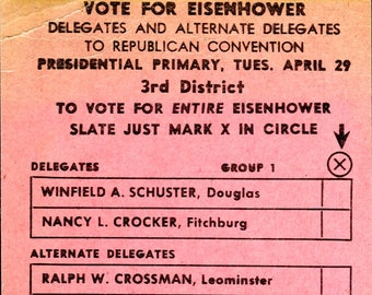 VOTE FOR EISENHOWER postcard