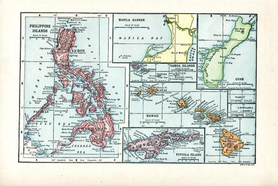 Guam And Hawaii Map.1910 Map Of Philippine Islands Hawaii Guam Tutuila Island Etsy