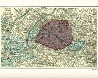 1910 Map of PARIS and Vicinity