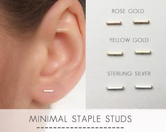 Staple Earrings - Gold Filled / Silver Bar Earrings - Line Earrings - Stud Earrings - Ear Climber - Minimalist Earrings - Everyday Earrings
