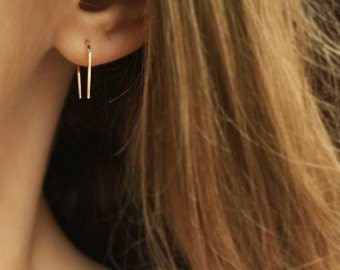 Minimal 14k Yellow or Rose Gold Filled Line Earrings - Minimal Gold Bar Earrings - Arc Earrings - Horseshoe Earrings - Gold Bridesmaids Gift
