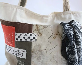 Canvas tote -Ecru cotton totebag with patches -ecoprint front pocket -sashiko stitching -Urban bag handmade -Cross Shoulder designer handbag