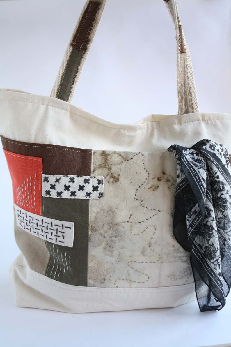 d1f60b0fab Bolso de tela de algodón color crudo con parches bolsillo
