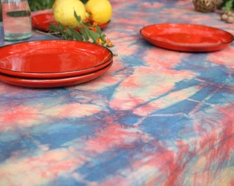 Rainbow Shibori Tablecloth - Hand dyed cotton tablecloth in three colors, red, yellow and blue