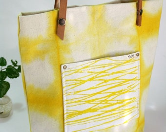 Yellow Canvas tote - Shibori dye totebag - Hand dye canvas tote with leather straps - Casual bag - Hand dyed cotton canvas tote-bag