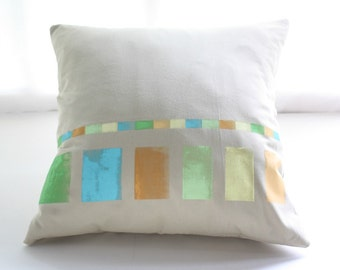 DECORATIVE PILLOW Spring palette - Cotton cushion cover hand painted