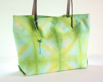 Shibori dye totebag - Hand dyed canvas tote with leather straps - Green, teal and yellow casual bag - Tie-dye tote