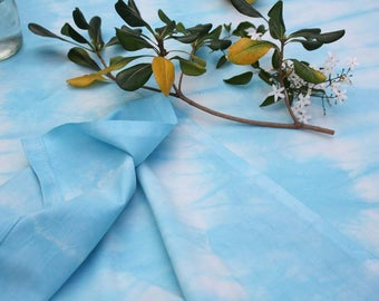 Turquoise shibori tablecloth - Tie-dye cotton tablecloth - 150x240cm