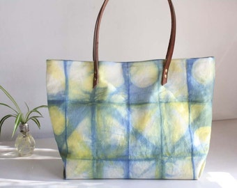 Shibori dye totebag - Tie-dyed canvas tote with leather straps - Blue and yellow casual bag