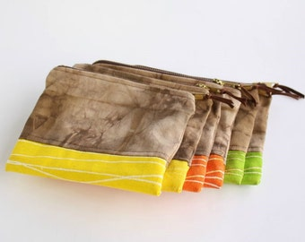 Zipper pouch shibori dyed - Small purse hand dyed in brown with contrasting bottom in yellow, orange or green - Makeup pouch - Wallet
