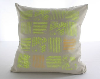 DECORATIVE PILLOW COVER custom made-hand printed- cotton - abstract - neon colors