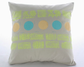 Neon printed PILLOW COVER  18x18 Beige cotton cover hand printed