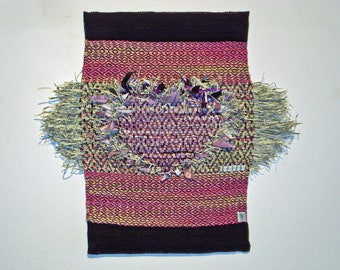 wall hanging, woven decor, fabric, weaving, boho, tapestry, mixed media, textile art, fiber art