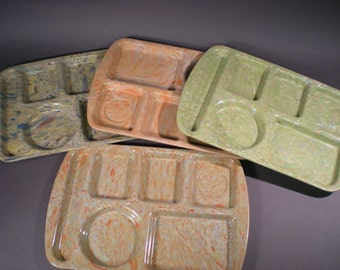 Mid-Century Prolon Ware Cafeteria Trays in Modish Color Speckled Finish