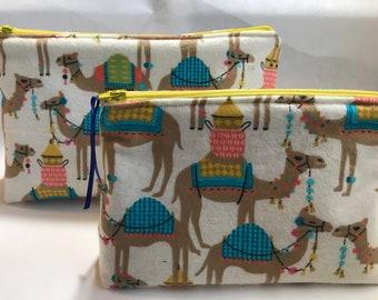 Camel Print Zipper Pouch