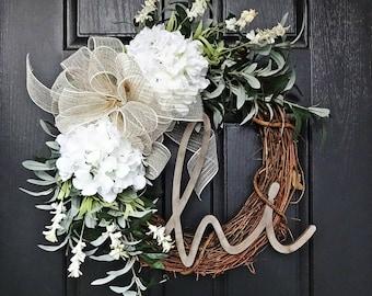 Summer Wreath, Olive Branch Wreath, White Hydrangea Wreath, Year Round Wreath, Hi Sign, Wreath with Hi Sign, Front Porch Wreath, Front Door